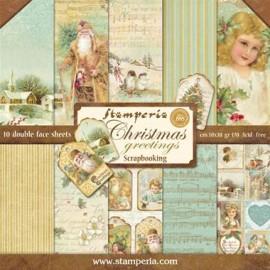 BLOCCO 10 FOGLI CHRISTMAS GREETINGS