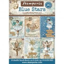 POSTCARD BLUE STARS
